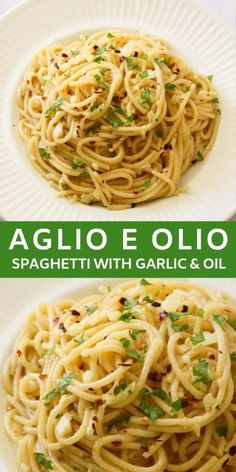 Spaghetti with Garlic and Oil, also known as Aglio E Olio, is a simple and delicious 15 minute meal made from just 5 ingredients. A traditional Italian pasta dish with sliced garlic that is sautéed in olive oil, then tossed with spaghetti, red pepper flak Easy Pasta Recipes, Easy Meals, Cooking Recipes, Recipes Dinner, Meatless Pasta Recipes, Pasta Recipies, Pasta Sauce Recipes, Crockpot Recipes, Soup Recipes