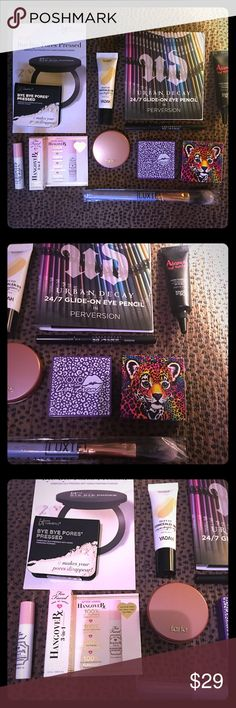 💄 Prime Face Essentials Cosmetic Bundle BRAND NEW• OFFERS WELCOME• Prime Face Essentials includes: Urban Decay 24-7 glide on eye pencil in perversion, Too Faced Hangover 3 in 1 Spray, Luxie Beauty Foundation brush, IT bye bye pores pressed powder, touch in SOL liquid foundation in natural beige, YADAH silky fit concealer bb in triple function, Tarte Amazonian Clay blush in feisty, Glamour Dolls & Lisa Frank matte bronzer in bitten & bronzed. Sephora Makeup