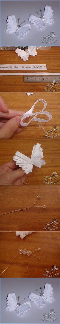 Discover thousands of images about DIY Tutorial: DIY Ribbon Crafts / DIY Easy Ribbon Butterfly - Bead&Cord Ribbon Art, Diy Ribbon, Ribbon Crafts, Ribbon Bows, Fabric Crafts, Sewing Crafts, Diy Crafts, Ribbon Flower, Ribbon Projects