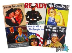 WWII porpaganda coffee table coasters by MissHapp on Etsy, $13.00