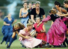 Gucci, I see your glamour soccer, and I raise you prom dress rugby.