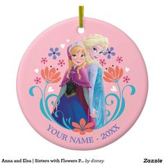 Anna and Elsa | Sisters with Flowers Personalized