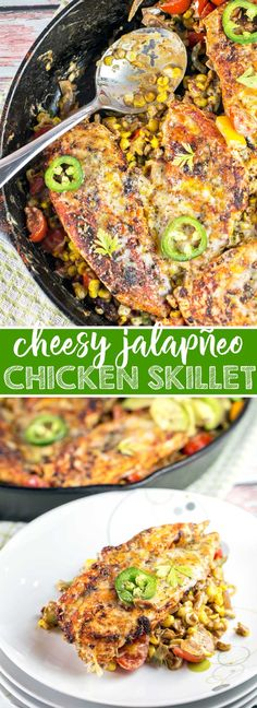 Cheesy Japapeño Chicken Skillet: The perfect quick and easy 30 minute, one pan, weeknight dinner! Mexican | Gluten Free | One Pan | 30 Minute Meals | Dinner {Bunsen Burner Bakery} via @bnsnbrnrbakery
