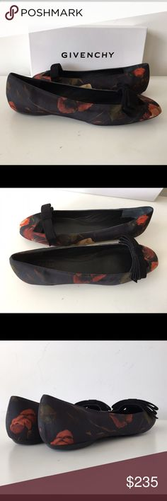 GIVENCHY FLORAL PRINT BOW SATIN AND LEATHER FLAT GIVENCHY FLORAL PRINT BOW SATIN AND LEATHER FLAT, SIZE 38.5, LEATHER LINING AND SOLE, BRAND NEW WITH BOX AND DUST BAG Givenchy Shoes Flats & Loafers