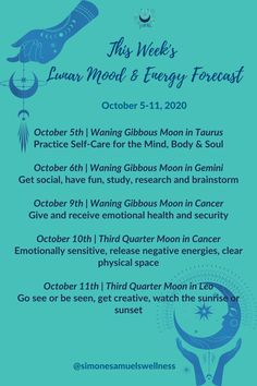 Lunar Mood and Energy Forecast Summary Week Commencing October 5th, 2020 #lunar #mood #neergy #lunarselfcare #moonmagick Virgo Moon, Gemini, Holistic Wellness, Natural Energy, Body And Soul, Health And Wellbeing, Self Care, Astrology, Moon Phases