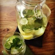 2L water, 1 medium cucumber, 1 lemon, 10-12 mint leaves. steep overnight in fridge and then drink.