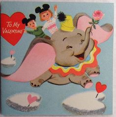 40 50s Walt Disney Mickey Mouse Club Dumbo Vtg Unused Valentine Greeting Card | eBay