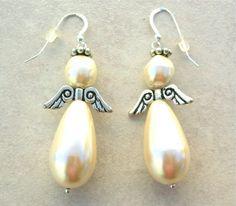 Pearl Angel Earrings, handmade beaded earrings