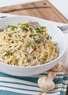 Creamy Parmesan, Leek, and Mushroom Pasta | Neighborfoodblog.com