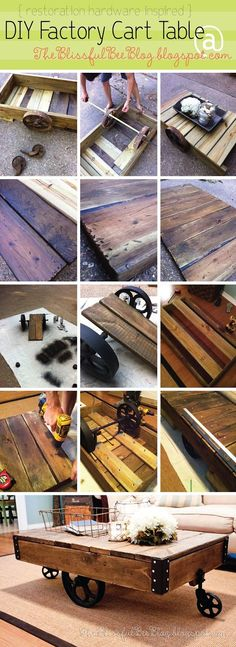DIY Restoration Hardware Hacks! (part 1) - Tutorials, including this DIY factory cart table RH hack by 'The Blissful Bee'!
