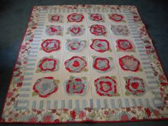 My French Roses quilt.  Fabric is Flowering Around by Beach Garden Quilts for Clothworks