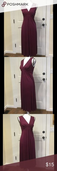 One West New York empire waist dress One West New York empire waist dress. Burgundy/purple color. Size large. Ties in back. Rayon/Lycra. One West New York Dresses