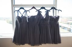 Charcoal Grey Bridesmaids Dresses. #Floral: @bellabysara | Venue: The Terrace Club | Photography: Light Harvest Photography  http://bellabysara.com/category/blog/ #weddingflowers