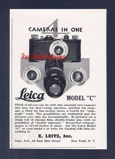 leicagraph — eliweisz:   1931 Leica Model C US ad  via Red...