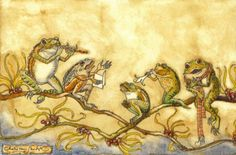 ♞ Artful Animals ♞ bird, dog, cat, fish, bunny and animal paintings - Charles van Sandwyk Frog Band