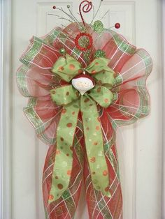 This is a smaller version of the wreath bows/tree toppers that I design and make. NOTE: If used as a Christmas tree topper the bow is one sided. Christmas Mail, Christmas Bows, Christmas Tree Toppers, Christmas Time, Christmas Decorations, Christmas Stuff, Christmas Ideas, Holiday Wreaths, Holiday Crafts