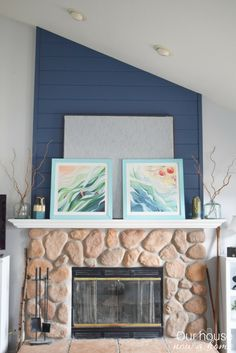 A coastal inspired spring fireplace mantel - How DIY ideas combined with the navy and turquoise color to create this Spring fireplace mantel. Bold colors and simple lines give this a contemporary and fresh feel to the coastal inspired living room!