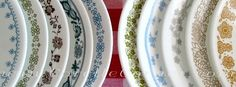 Vintage Corelle plates in various patterns