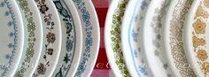 Vintage Corelle plates in various patterns