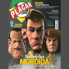 """""""Capa deste mês da Revista Placar? O que você achou da caricatura do @neymarjr ?? Confesso que não gostei, e você? #neymar #neymarjr #placar #revistaplacar"""""""