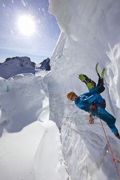 Tim Emmett figure-fouring on Mont Blanc