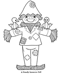 BlueBonkers: Fun Printable Halloween Coloring Page Sheets - Scarecrow Doll - Halloween Symbols Thanksgiving Coloring Pages, Fall Coloring Pages, Halloween Coloring Pages, Printable Coloring Pages, Adult Coloring Pages, Coloring Pages For Kids, Coloring Books, Coloring Sheets, Halloween Scarecrow