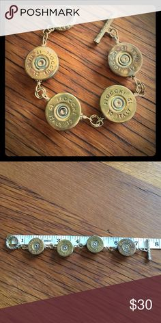 "1-of-a-kind % Authentic Shotgun Shell Bracelet I bet you'll NEVER see this anywhere else! A 7.5"" bracelet made of 4 Fiocchi Italy 12 gauge shotgun shells. Conversation Piece to say the least. Jewelry Bracelets"