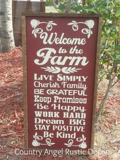 "Why we love our country living mojo...this is the philosphy and art of living appraoch with local farm folk that we interact with in our community Love it! Welcome to the FARM Rustic distressed typography wood sign 12""x24"", FARMHOUSE DECOR, Farm sign, Rustic Farm & Ranch Sign, Original"