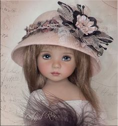 OOAK COLONIAL ROSE Hat 4 Effner Little Darling, Ellowyne, Prudence, BJD by Linda #ClothingAccessories