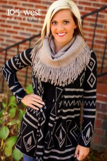 """""""Amie"""" Tribal Cardigan.  105 West Boutique located in Abbeville, SC.  (864) 366-WEST.  Available in store and online.  Look for us on Facebook."""