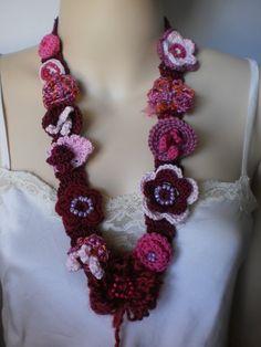 Crochet Scarf  Lariat Scarf  Necklace par levintovich sur Etsy, $41.00
