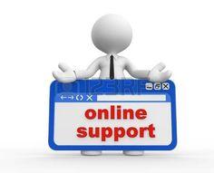 Pesonaje 3D. Sostiene un aviso con las palabras en inglés online support. Soporte en línea.