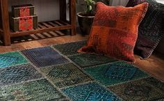 Turquoise, Olive and Purple Wool and Jute Kilim Rug 120x180 cms - Jute and Natural Fibre Rugs - Shop By Colour Rugs