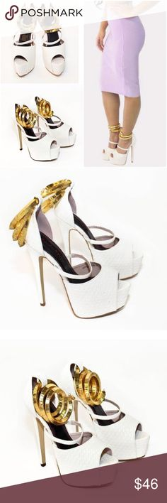 """✨NEW✨ Gold Wrap Goddess Platform Heels Brand new and super gorgeous white platform heels.These open toed shoes feature sexy ankle wraps that is covered with three gold metal wrap pieces, like anklet jewels for your feet. Wraps are removable.  Platform: 2"""" approximated  Heel: 6.25"""" approximated  Color: White  Hidden platform for comfort  Gold Wrap details Fits true to size ❌No trades. Open to reasonable offers. Thank you‼️ Boutique Shoes Heels"""