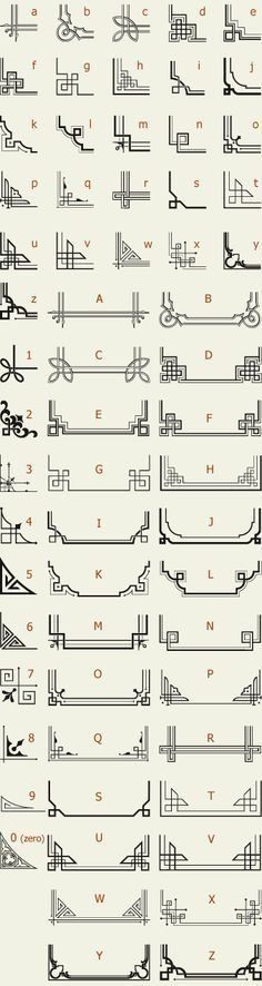 The perfect reference list for Art Deco Letterhead Fonts / LHF Corner Specimens / Scrolls and Borders Motif Art Deco, Art Deco Design, Art Deco Borders, Art Deco Font, Art Deco Typography, Art Deco Pattern, Vintage Typography, Design Design, Embroidery Designs