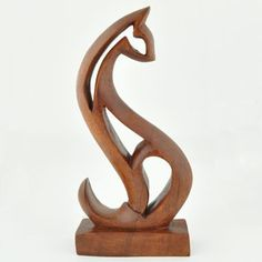 Wooden Abstract Cat Sculpture