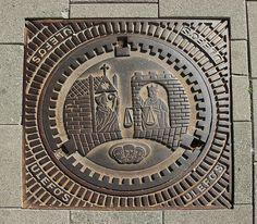 Trondheim, Norway, manhole cover, in a Trondheim, street.