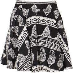Don't Ask Amanda Bandana Whip It Skirt ($49) ❤ liked on Polyvore featuring skirts, bottoms, saias, faldas, black skater skirt, black white skirt, high-waisted skirts, black high waisted skirt and black knee length skirt