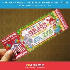 Circus Carnival Printable Birthday Invitation Ticket Style - Digital - Print Your Own - PDF. $10.00, via Etsy.