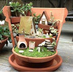 Broken pot fairy gardens
