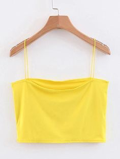 To find out about the Solid Crop Cami Top at SHEIN, part of our latest Tank Tops & Camis ready to shop online today! Cropped Cami, Cami Crop Top, Cami Tops, Yellow Crop Top, Pink Yellow, Blue Green, Hoodies For Sale, Faux Leather Pants, Yellow Fashion