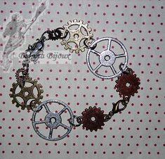 Bracelet steampunk avec rouages. 10€ Steampunk, Bracelets, Creations, Charmed, Jewelry, Art Crafts, Jewerly, Jewlery, Schmuck