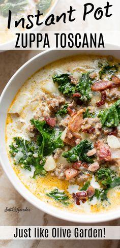 Instapot Soup Recipes, Kale Soup Recipes, Healthy Recipes, Chicken Recipes, Sausage And Kale Soup, Italian Sausage Soup, Kale Potato Soup, Best Instant Pot Recipe, Instant Pot Dinner Recipes