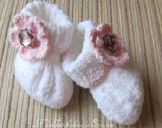 Knitting Pattern #30 Baby Girl Cotton Booties 0-3, 3-6 and 6-9 months