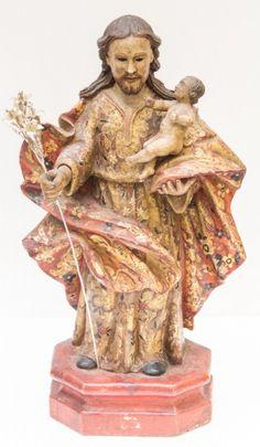 Imagem de São José, madeira policromada. Bahia, século XIX. Não vendida. Preço base 3.500,00