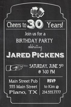 Cheers to 30 Years Chalkboard Birthday Party Invitation by KPickensDesigns on Etsy, $15.00