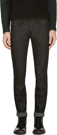 Naked & Famous Denim - Black Grandelle Denim Salt & Pepper Super Skinny Guy Jeans | SSENSE