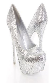 Silver Multi Glitter Faux Leather Platform Pump Heels ...