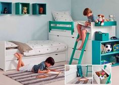 Habitación Infantil: Habitación infantil para 3 niños | Habitación infantill con tres camas, realizada con un sistema modular de alta calidad fabricado en