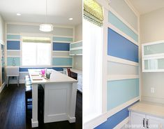 House of Turquoise: Hiya Papaya + Four Chairs Furniture- Trim out a painted wall. Think I need to do this on Liam's squares in his room. Home Office, Office Nook, Painting Stripes On Walls, House Of Turquoise, Turquoise Walls, Wall Molding, Parade Of Homes, Home Photo, Wall Treatments